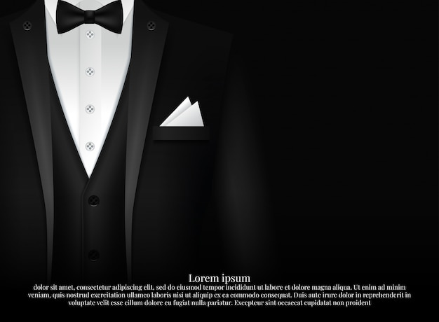 黒のスーツと蝶ネクタイとタキシード Premiumベクター