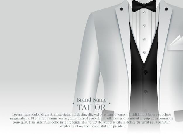 黒のネクタイと現実的なスタイルの白いシャツのビジネススーツテンプレート Premiumベクター