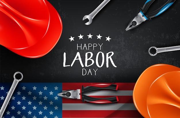 Векторная карта счастливый день труда. национальный американский праздник иллюстрация с флагом сша Premium векторы