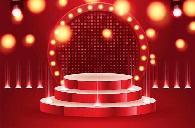 サーチライトベクトルイラストに照らされたスポーツ勝者空の表彰台。投光照明付きのステージは空です。ベクトル図 Premiumベクター