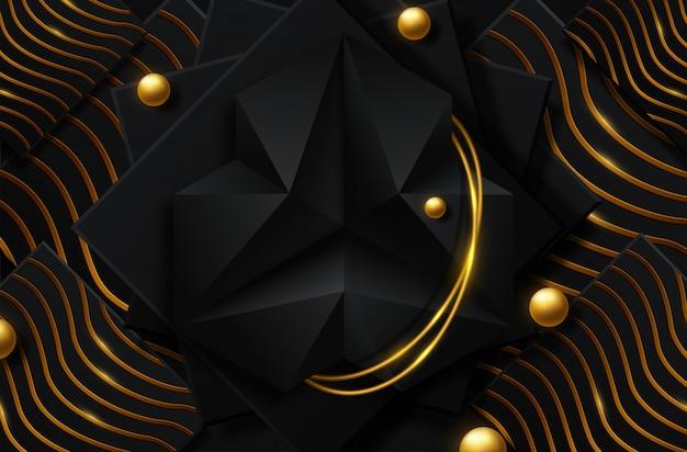 Абстрактный черный и золотой фон Premium векторы