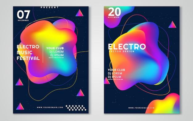 電子音楽祭の広告ポスター。 Premiumベクター