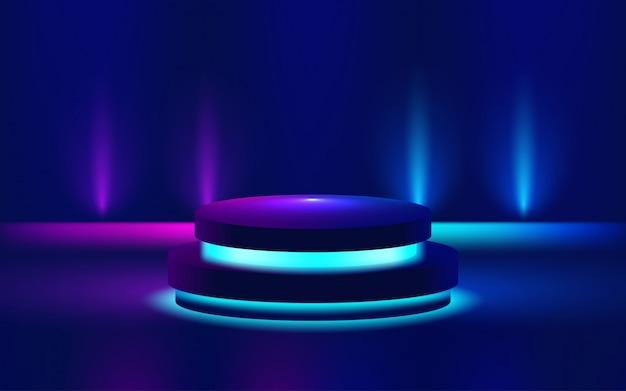明るい表彰台の紫色の図を表示 Premiumベクター