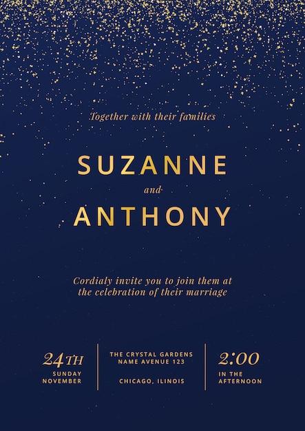 結婚式招待状の美しいポスター 無料ベクター