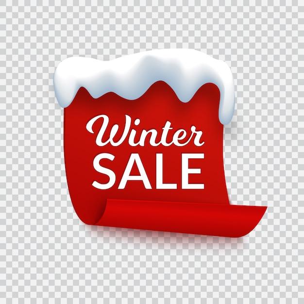 冬販売バナー、雪の帽子とテキストの赤い紙 Premiumベクター