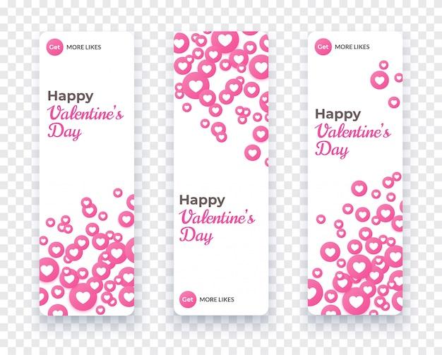 Счастливый день валентина баннер набор, вертикальный шаблон карты с плавающей розовое сердце иконки для любви купон, подарочный сертификат, приглашение. векторная иллюстрация праздник с конфетти сердца. Premium векторы
