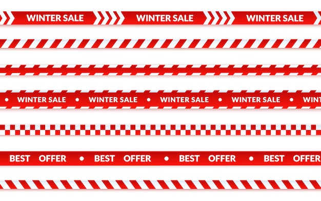 冬セールリボン、抽象的なクリスマスセールバナー白に設定。ショッピングに関するベクトル注意テープ、最高の休日のバナーを提供します。漫画のスタイルの図解。 Premiumベクター