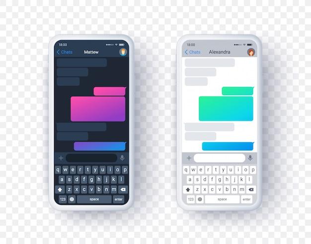 Экран приложения чата в светлом и темном режиме, градиентное текстовое поле с клавиатурой в плоском стиле. фон. Premium векторы