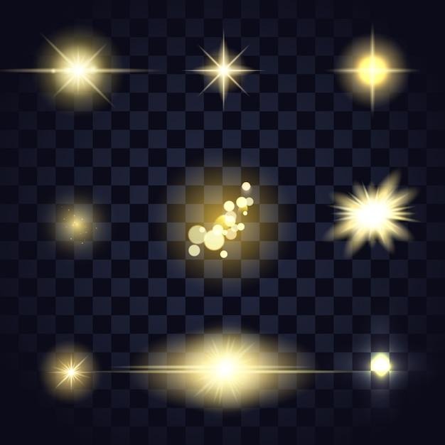 Вспышка линзы золотой свет звезды Premium векторы