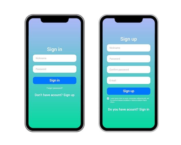 サインインおよびサインアップモバイルフォーム、あらゆるアプリケーションに使用可能 Premiumベクター