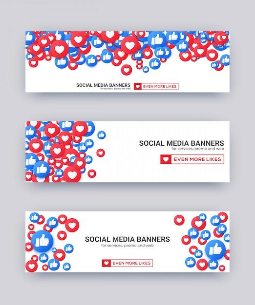 Любит смайлики баннер, синий и красный палец вверх и значок сердца для прямой трансляции социальной сети. Premium векторы