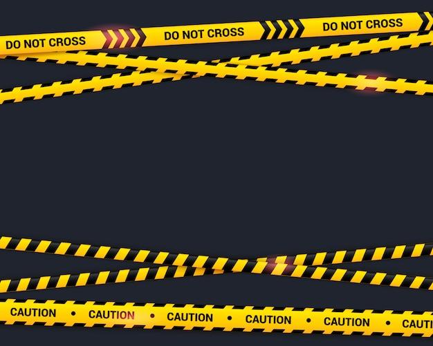 黒の注意テープ。テキスト効果のある黄色のクロスリボンをライト効果でクロスしないでください。フラットスタイル、危険なゾーンの図の警告線。 Premiumベクター