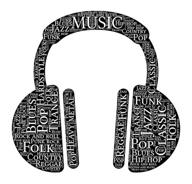 音楽ヘッドフォン形状の言葉の雲 Premiumベクター