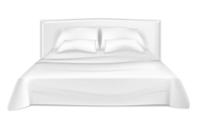 空の白いベッドと枕。 Premiumベクター