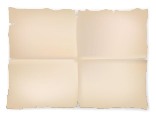 しわくちゃの古い紙の白い背景の上のシート。ベクター Premiumベクター