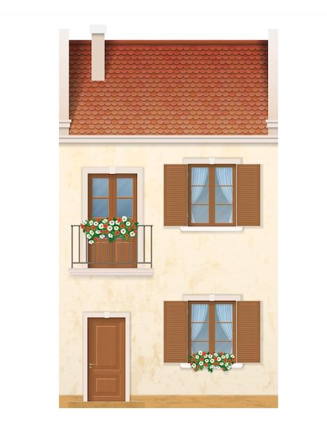 伝統的なヨーロッパのタウンハウス。 Premiumベクター