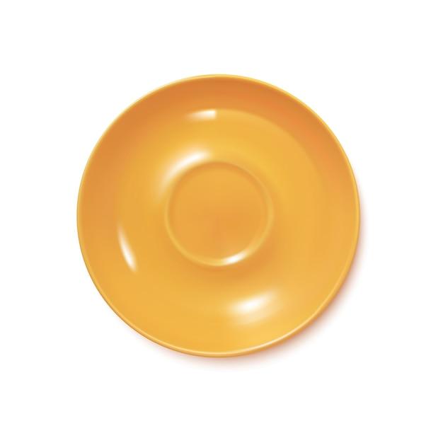 黄色のリアルなプレート Premiumベクター