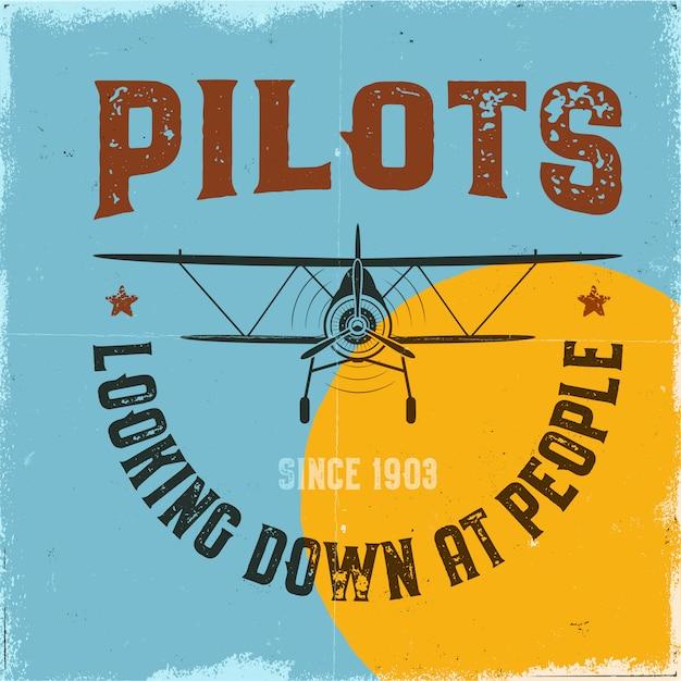 Старинный плакат самолета. пилоты смотрят свысока на людей и биплан Premium векторы