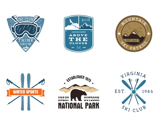 スキークラブ、国立公園のラベルのセット。ビンテージマウンテン冬キャンプ探検家バッジ。アウトドアアドベンチャーのロゴデザイン。旅行と流行に敏感な色の記章。スノーボードのアイコンのシンボル。荒野。 Premiumベクター