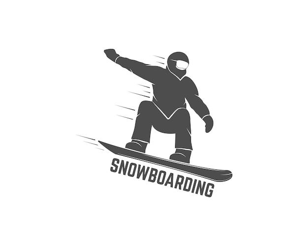 スノーボードシルエットアイコン Premiumベクター