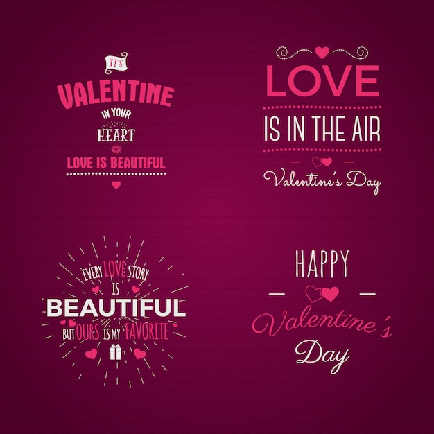 ベクトル写真オーバーレイ、手描きのレタリングコレクション、心に強く訴える引用。バレンタインの日のラベルを設定します。愛は空気中です、私の甘い愛 Premiumベクター