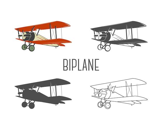 ビンテージの航空機デザイン要素のセットです。色、線、シルエット、モノクロームデザインのレトロな複葉機。航空のシンボル。複葉機のエンブレム。オールドスタイルの飛行機 Premiumベクター