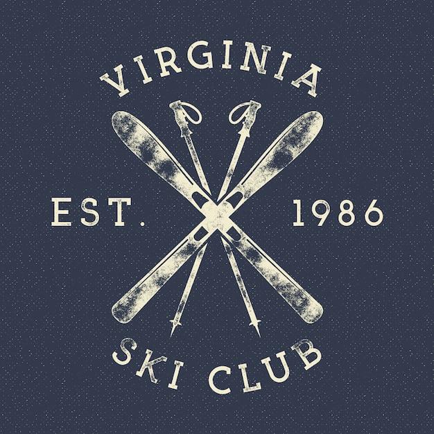 ウィンタースポーツ、スキークラブのラベル。ビンテージマウンテン冬キャンプエクスプローラーバッジ。アウトドアアドベンチャーのロゴ。 Premiumベクター
