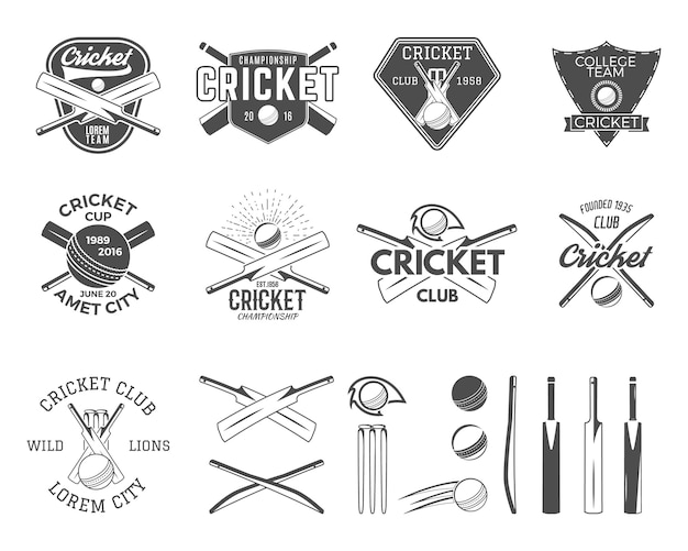 Набор шаблонов логотипа спортивных состязаний по крикету Premium векторы