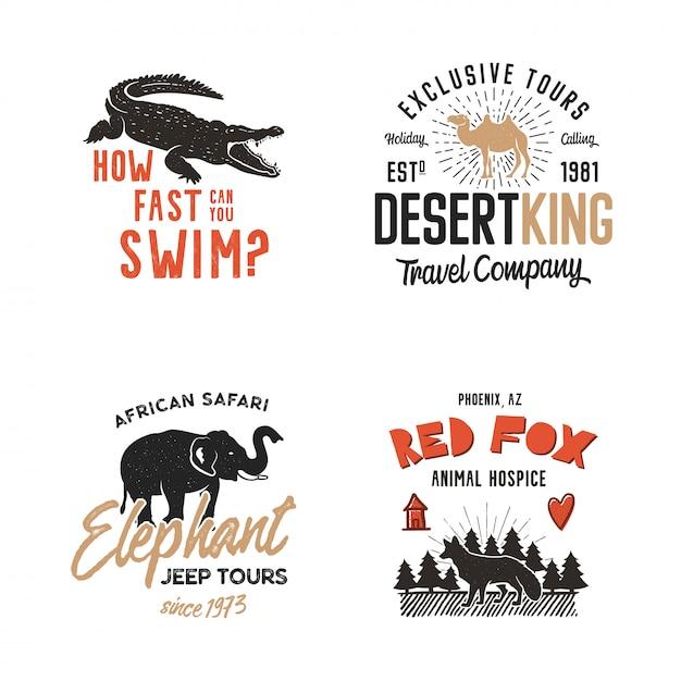 野生動物のロゴバッジ Premiumベクター