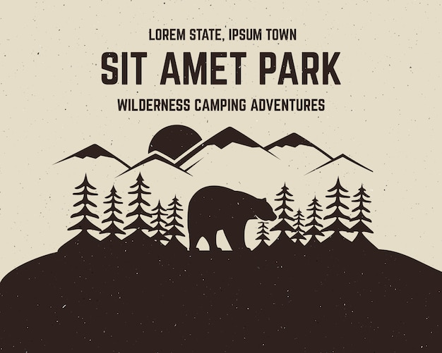 クマとテキスト、荒野のキャンプアドベンチャー、登山のビンテージアドベンチャーデザイン Premiumベクター