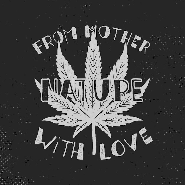 愛のポスターを持つ母なる自然から。カナダが合法化します。マリファナの雑草の葉。 Premiumベクター