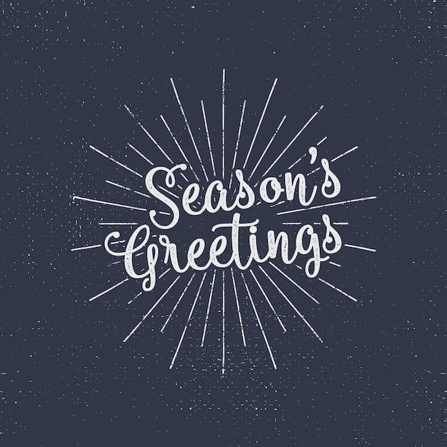 メリークリスマスレタリング。季節の挨拶。休日タイポグラフィベクトル。太陽のバーストとハーフトーンテクスチャの文字構成。 Premiumベクター