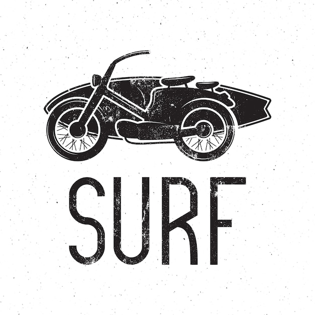 Винтажный серфер дизайн мотоцикла. Premium векторы