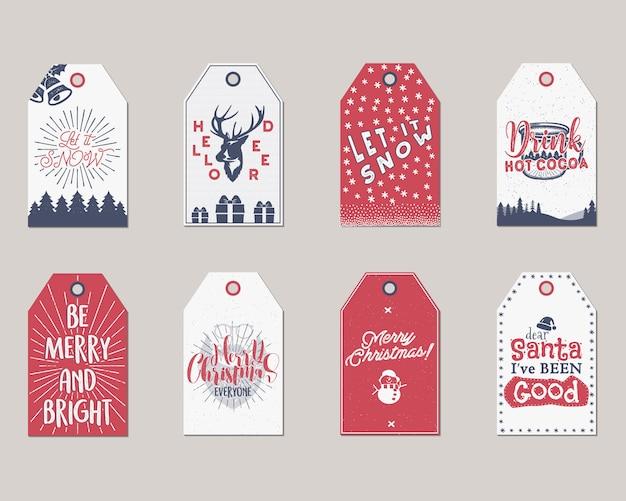 メリークリスマスと新年のギフトタグまたはラベルのコレクション。 Premiumベクター