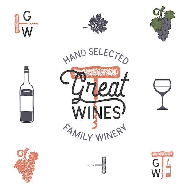 ワインのロゴとワイナリーのアイコン、要素。 Premiumベクター