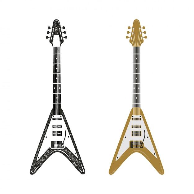 黒とレトロカラーのエレキギターセット。ヴィンテージ手描きロックギター Premiumベクター