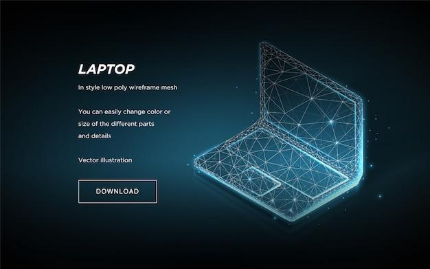青の背景に等尺性のラップトップ Premiumベクター