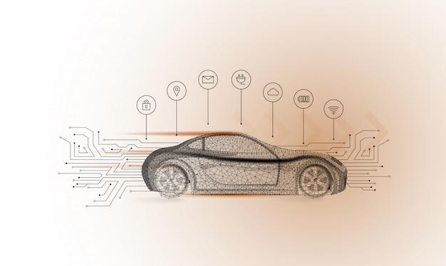 スマート車のベクトルの概念。電気自動車 Premiumベクター