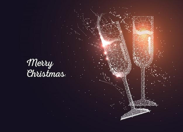 Бокалы для шампанского. поздравительная открытка с рождеством Premium векторы