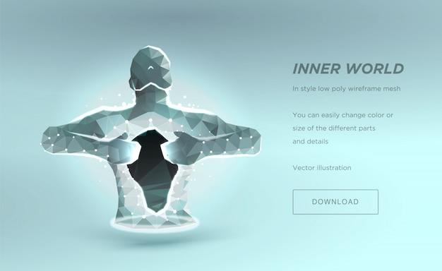 人間の胴体低ポリワイヤーフレーム、魂や病院を癒すという概念。 Premiumベクター