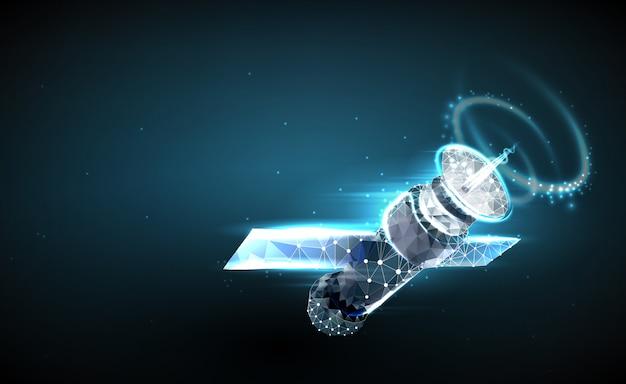 スケルトンの形の多角形と点から成る周回宇宙ステーションの抽象的なイメージ。 Premiumベクター