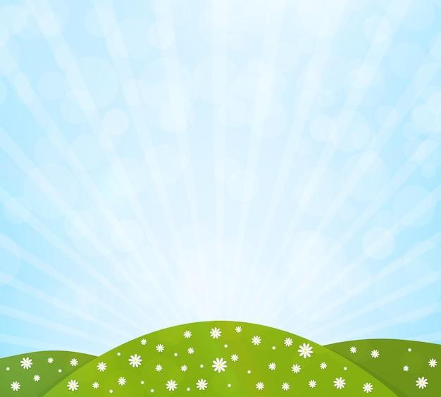 緑の野原、花と青い空と自然の背景。ベクトルイラスト Premiumベクター