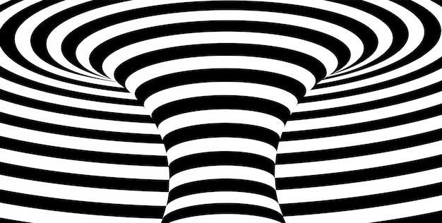 抽象的な黒と白の波状の縞模様の背景。 Premiumベクター
