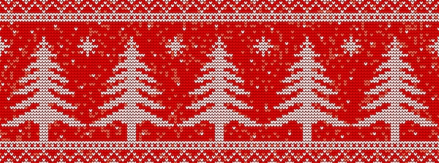 クリスマスツリーと赤の編み物のシームレスなパターン背景 Premiumベクター