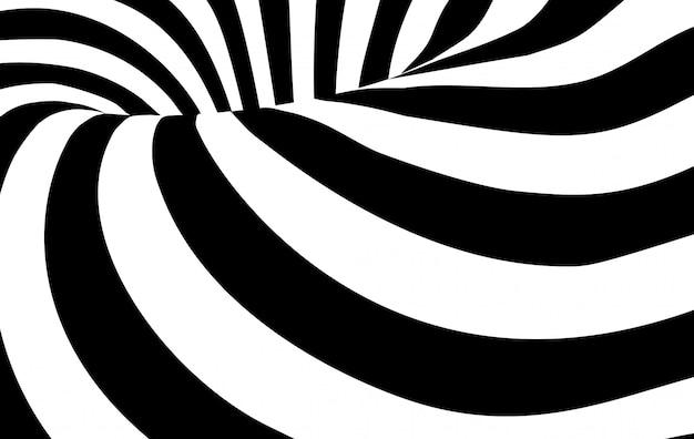 抽象的な黒と白の波状の縞模様の背景 Premiumベクター