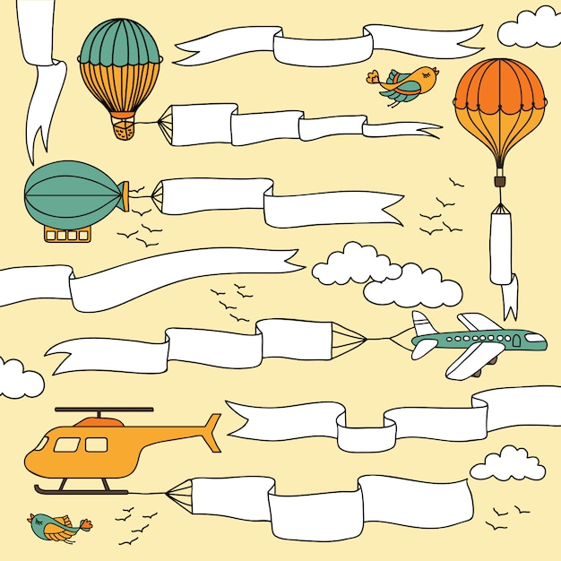 Набор рисованной баннеров и лент, перевозимых самолетами, воздушными шарами и дирижаблем Premium векторы
