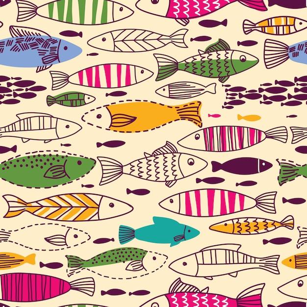 魚と水中のシームレスパターン Premiumベクター