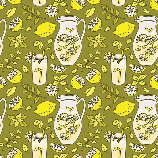 Освежающий лимонад бесшовные модели Premium векторы