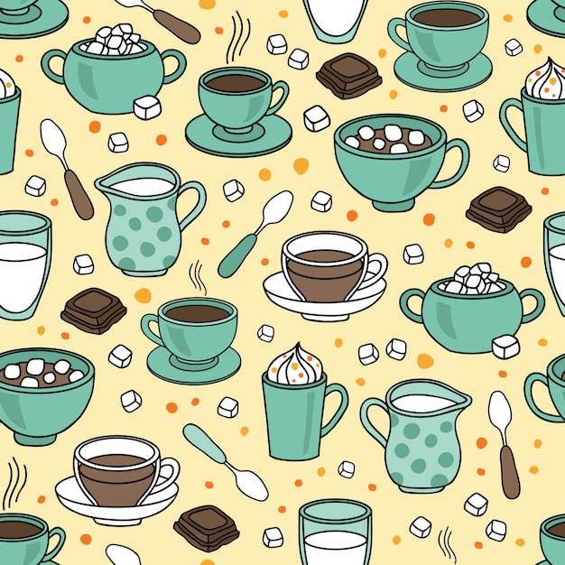 コーヒー、エスプレッソ、カプチーノ、ラテとシームレスなベクトルパターン背景 Premiumベクター