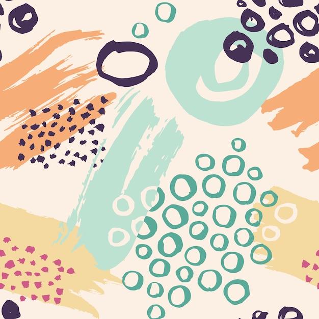 インクで作られた手描きのカラフルなシームレスパターン。ブラシストロークとベクトルの抽象的な背景 Premiumベクター